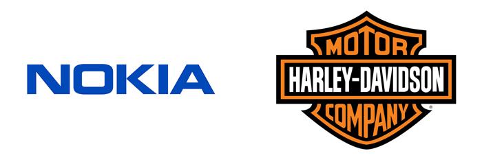 Logo's van Nokia en Harley-Davidson