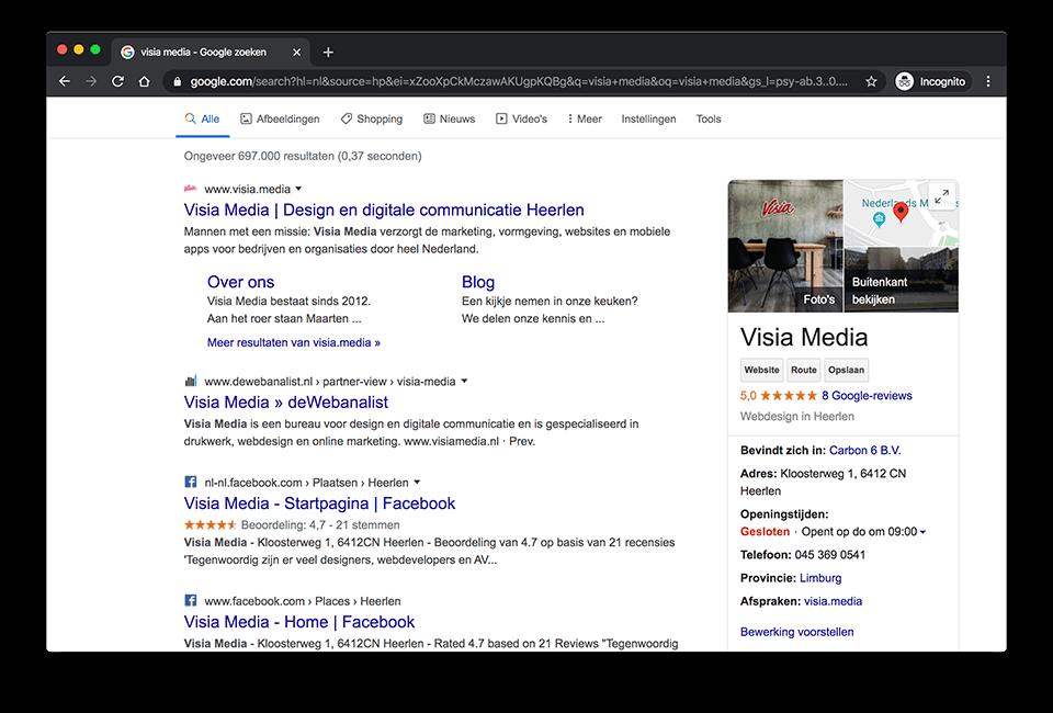 Visia Media op de lokale zoekresultatenpagina
