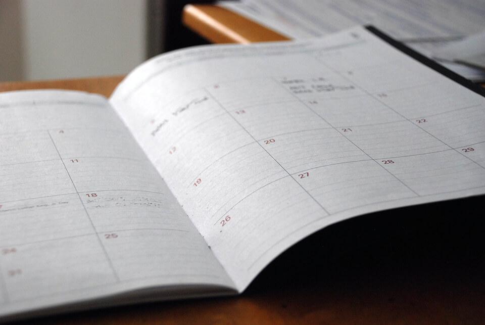 Foto van een kalender