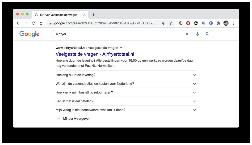 Vragen en antwoorden op de zoekresultatenpagina van Google