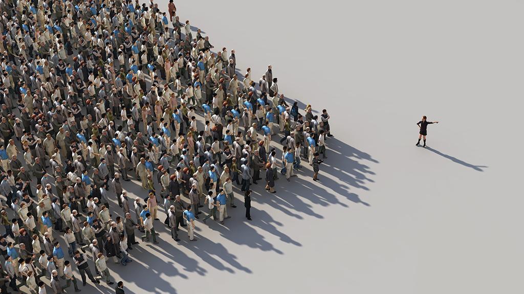 Groep mensen die aangestuurd wordt door een marketeer