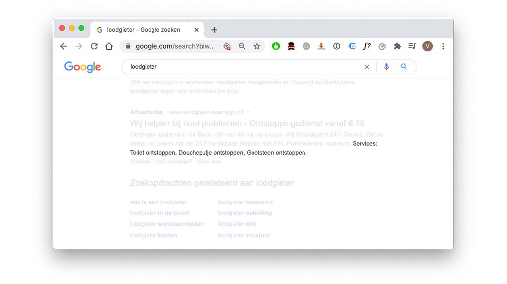 Extensie voor website-informatie