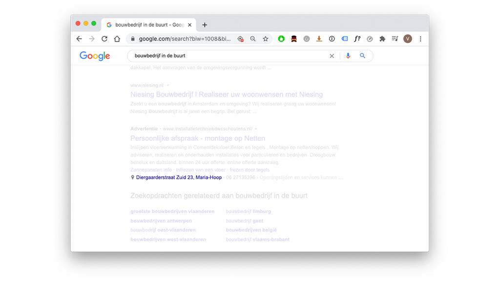Locatie extensie in een Google Advertentie