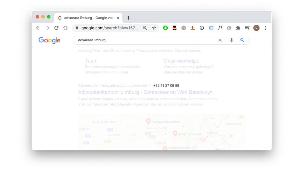 Oproepextensie in Google resultatenoverzicht