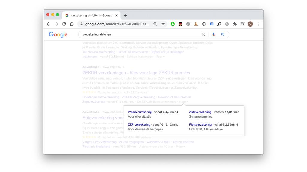 Prijsextensies in een Google Advertentie