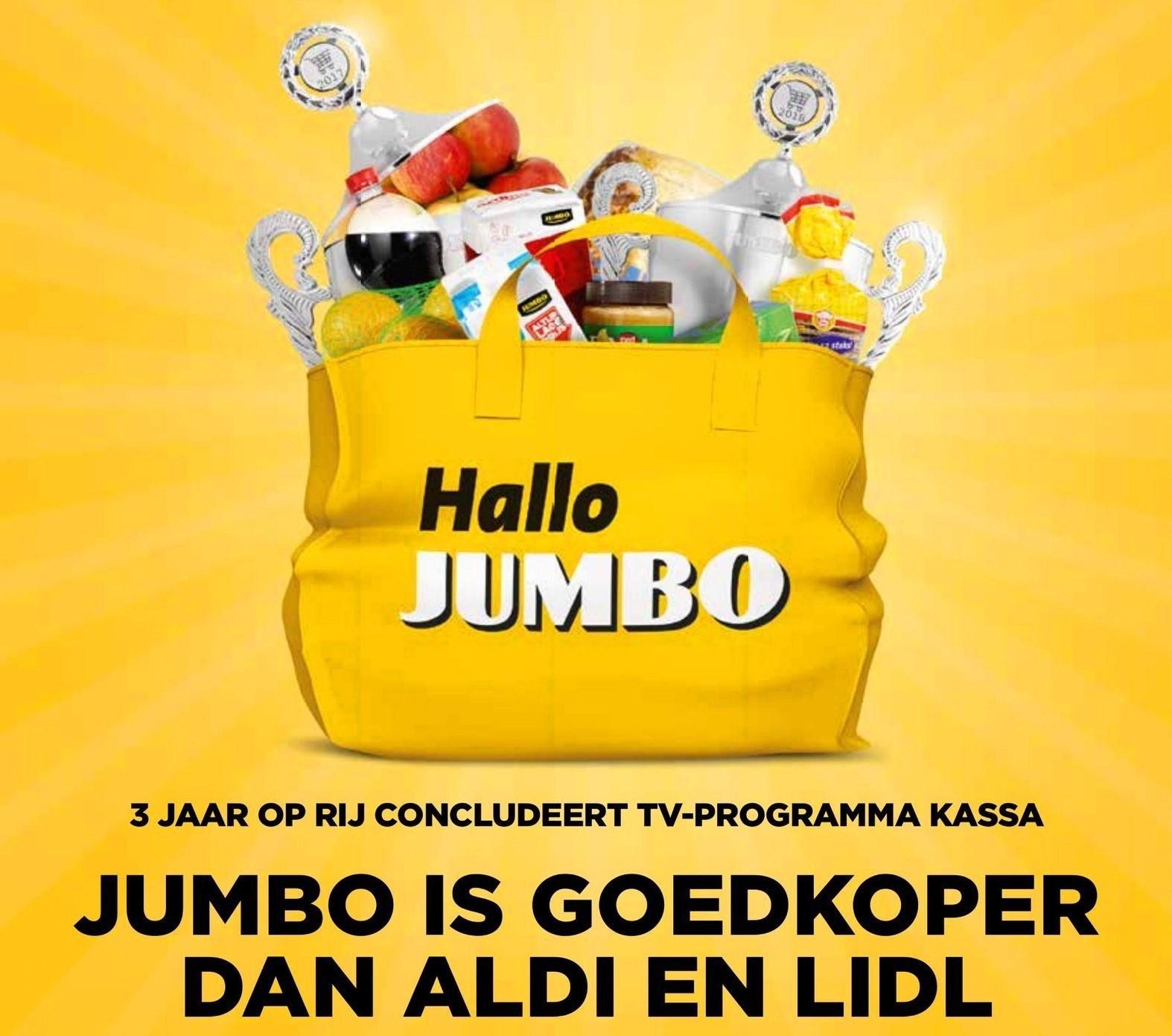 """Jumbo reclame: """"Goedkoper dan Aldi en Lidl"""""""